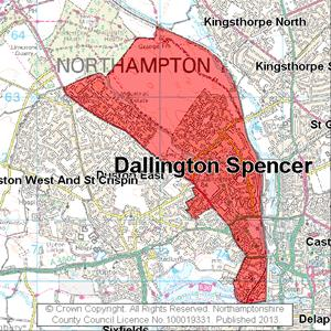 Map of Dallington Spencer electoral division
