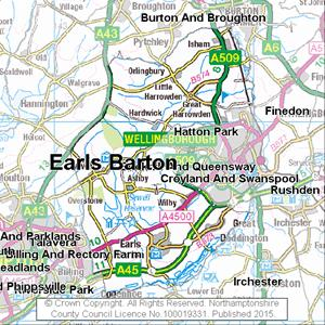 Map of Earls Barton electoral division