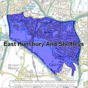Map of East Hunsbury And Shelfleys electoral division